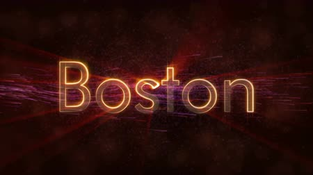 Бостон : Boston - United States city name text animation - Shiny rays