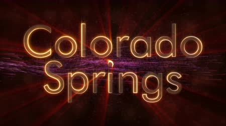 naam : Colorado Springs - State of the art tekstanimatie - Glanzende stralen Stockvideo
