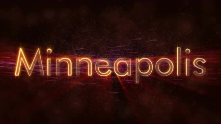 country name : Minneapolis - United States city name text animation - Shiny rays