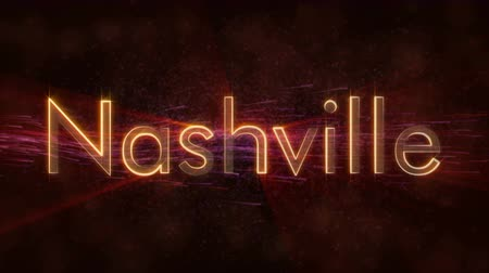 country name : Nashville - United States city name text animation - Shiny rays