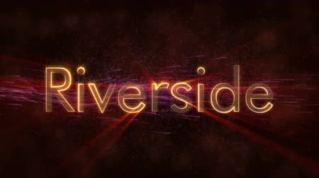 country name : Riverside - United States city name text animation - Shiny rays