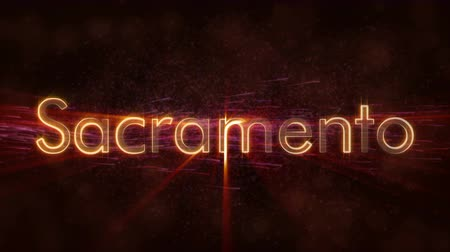 country name : Sacramento - United States city name text animation - Shiny rays Stock Footage