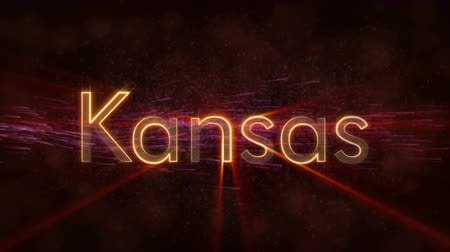 nomeação : Kansas - United States of America state name text animation - Shiny rays