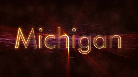 country name : Michigan - United States of America state name text animation - Shiny rays Stock Footage