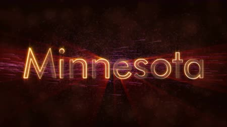 country name : Minnesota - United States of America state name text animation - Shiny rays Stock Footage