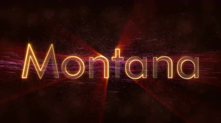 country name : Montana - United States state name text animation - Shiny rays
