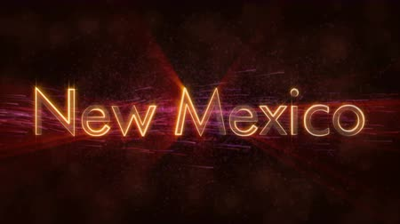 naam : New Mexico - State of the art tekstanimatie - Glanzende stralen Stockvideo
