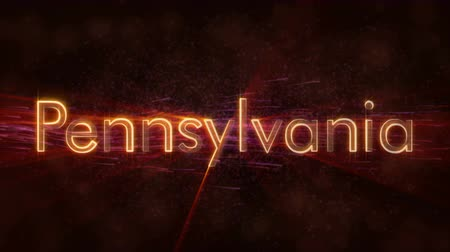 текст : Pennsylvania - United States of America state name text animation - Shiny rays