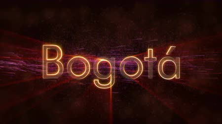 colômbia : Bogota - Colombia city name text animation - Shiny rays