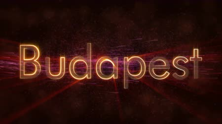 country name : Budapest - Hungarian city text - Shiny rays Stock Footage