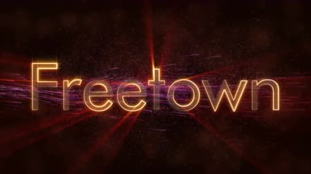 freetown : Freetown - Sierra Leone text animation - Shiny rays Stock Footage