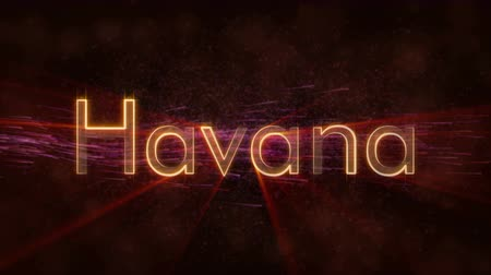 country name : Havana - Cuba city name text animation - Shiny rays Stock Footage