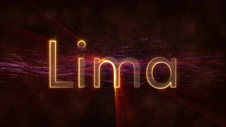 lima : Lima - Peru city name text animation - Shiny rays Stock Footage