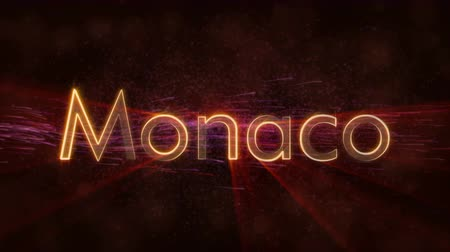 country name : Monaco - Monaco city name text animation - Shiny rays Stock Footage