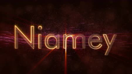 kontinens : Niamey - Niger city name text animation - Shiny rays