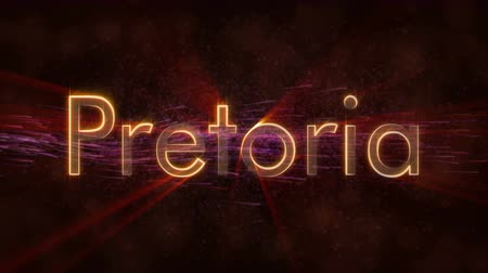 country name : Pretoria - Shiny rays text on background - Shiny rays Stock Footage