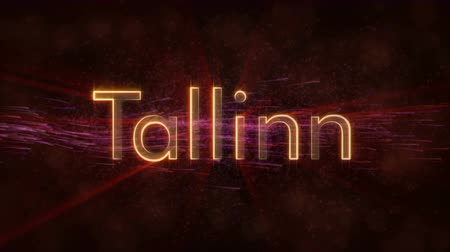 country name : Tallinn - Estonia city name text animation - Shiny rays Stock Footage