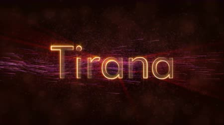 nomeação : Tirana - Albanian city name text animation - Shiny rays Stock Footage