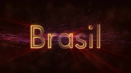 country name : Brazil to Brasil text. Shiny rays on a background