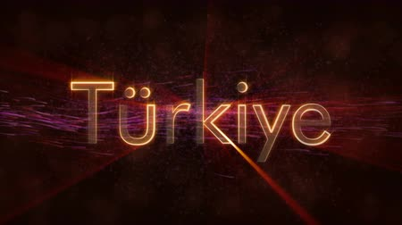 Turkey to Turkey - country name transition between ?ngilizce Language and locale text animation. Shiny rays on a background 무비클립
