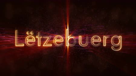 Luxembourg to Letzebuerg - German language text animation. Shiny rays on a background