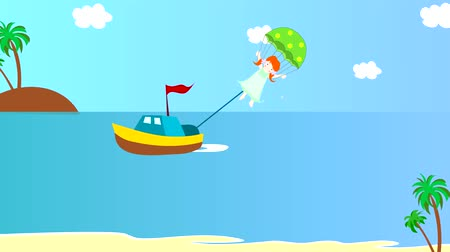 pára quedas : The boat pulls girl on a parachute over the sea, animation, cartoon Vídeos