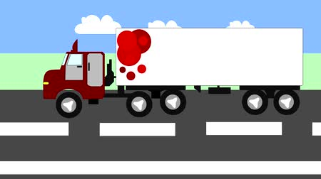 auto estrada : Big truck moving on the highway, animation, cartoon