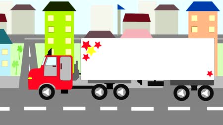 auto estrada : Big truck moving through the city, animation, cartoon
