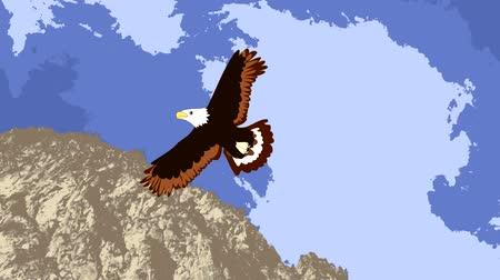 orel : Lovely eagle soars in the sky over the mountain, animation, cartoon