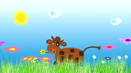 dairy animal : Merry cow dancing and grazing on a green meadow