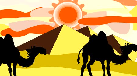 goes : Black silhouettes of camels going through the desert near the pyramids, animation, cartoon