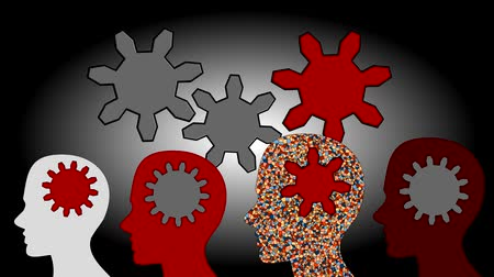 to think : Gears rotate inside the brain power of teamwork, animation, cartoon