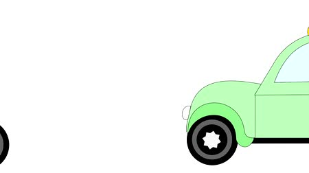 karbantartás : Taxi rides on a white background, advertising, animation, cartoon Stock mozgókép