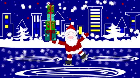 patim : Dear Santa Claus with gifts in the boxes skates in the city, the snow falls Vídeos