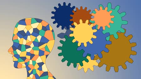 motivar : Gears rotate inside the brain power of teamwork Vídeos