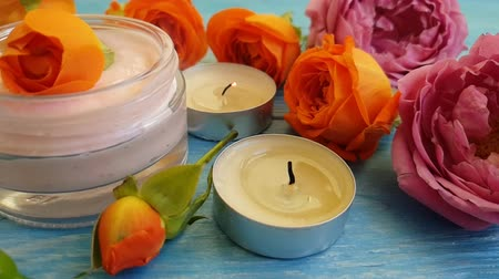 kaars : rose cream candle time lapse Stockvideo