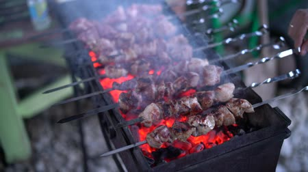 beefsteak : Barbecue with delicious grilled meat on grill.
