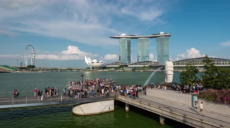 brasão : Time lapse of Merlion Park and Marina Bay Sands, Singapore