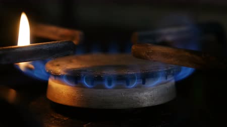 methane : Gas burning from a kitchen gas stove Stock Footage