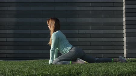Young Woman Is Engaged In Fitness On The Grass. Young Woman Doing Exercises In The Park.