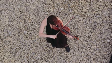 string instrument : Woman In Evening Dress Playing The Violin On. Beautiful Young Woman On The Roof Of The Building. Aerial View. Stock Footage
