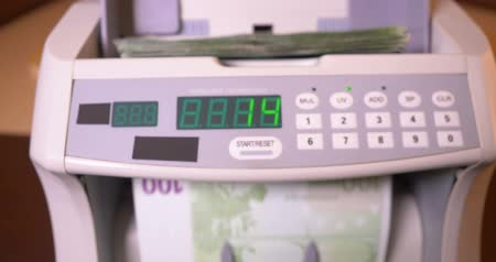 hesaplama : Counting EURO Banknotes On Currency Counter Machine