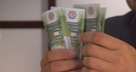 euro banknotes : Successful businessman counts money