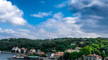 avançar : Istanbul from the birds-eye view. Great Nature. Dense, green trees. High mountains. Sunshine. Clean, blue sky. Dense clouds float