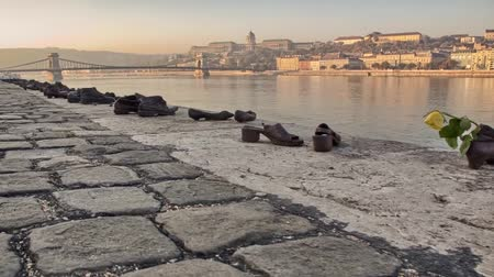 budapeste : View of the River Danube in Budapest. on the Banks of the Monument