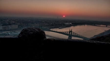 Budapest at Sunset. View of the City From on High. on the River Seen a Rapid Current. Dostupné videozáznamy