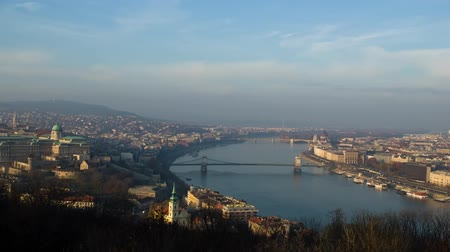 View of the River Danube in Budapest. Budapest at Sunset. the Sky Floating Clouds.