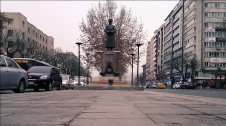 Statue in Ankara. The Statue Stands Near The Road, turkey capital city view and icons.
