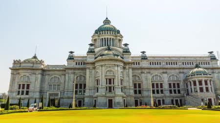 fish eye : View of the beautiful facade of a historic building in Bangkok