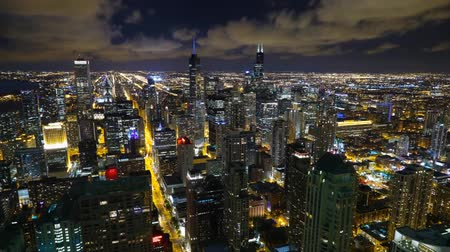 metropolitan area : Night view of chicago from height